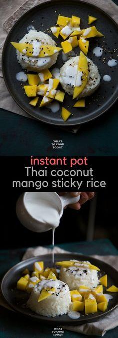 Instant Pot Thai Coconut Mango Sticky Rice (Khao Niao Mamuang) [Read more] Coconut Sticky Rice, Sweet Sticky Rice, Sticky Rice Recipes, Thai Coconut Rice, Mango Sticky Rice Recipe Rice Cooker, Thai Rice, Coconut Sauce, Coconut Milk, Rice Desserts