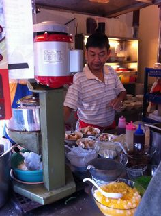 Malaysian Street Food - Air Batu Campur or ABC - Shaved Ice with Codensed Milk, Red Beans, Peanuts, Black Grass Jelly, and More