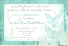 Butterfly Cloud Bridal Shower Invitation - Teal Wedding Flowers