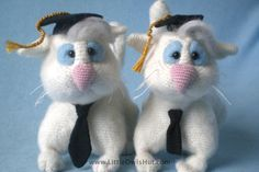 Etsy: Clever Cat with hat and tie. Amigurumi toy by LittleOwlsHut, R$16,32*