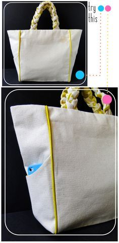 Try This: Piped Pocketed Canvas Tote Bag Tutorial