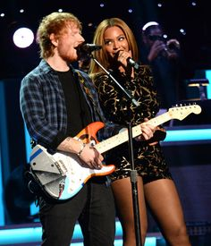 Beyonce showed off her sexy gams during an energetic duet with Ed Sheeran on Tuesday, Feb 10, as the two big names in music united to pay tribute to Stevie Wonder.
