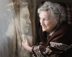 """Premium Photo Competition Pinner says """"This is a portrait of my grandmother at 21 on the left and 92 on the right, composited in Photoshop, Photo Portrait, Portrait Shots, Photo Competition, Young At Heart, Aging Gracefully, Photomontage, Photo Tips, Getting Old, Belle Photo"""