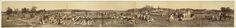 Anonymous | De Djatihoutkapperij Ngoro Goenoeg bij Bojonegoro op Java, Anonymous, c. 1890 | Panorama-foto bestaande uit 7 aan elkaar geplakte delen voorstellende een djati-hout kapperij met vele Javaanse arbeiders, enkele Javaanse vrouwen en kinderen en enkele europeanen in witte tropenkleding met witte tropenhoeden. Enkele paarden, karbouwen (als trekdieren) trein-onderstellen en een betja komen op de foto voor, evenals het hout in vele stadia van bewerking (van ruwe, net gekapte boomstam…