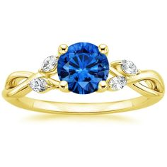 Blue Sapphire Willow Engagement Ring - 18K Yellow Gold