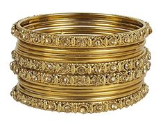 Little Miss Twin Stars Great Traditional Indian Bollywood Style Antique Gold Plated Polki Bangle Jewelry