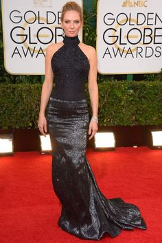 Uma Thurman in Atelier Versace. The Golden Globes