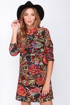 Near and Far Out Black Floral Print Dress