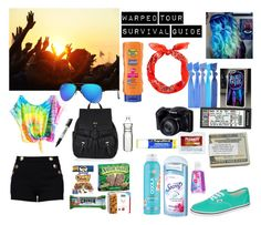 """""""Warped Tour Survival Guide"""" by hockeymusiclife ❤ liked on Polyvore featuring Vans, Boutique Moschino, Accessorize, Dot & Bo, Sharpie, Popband, COOLA Suncare, Ray-Ban, Secret and Chapstick"""