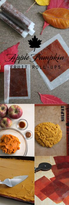 A delicious recipe for autumn-inspired fruit roll-ups. Healthy (and yummy) snack for the entire family. Dog Treat Recipes, Fruit Recipes, Pumpkin Recipes, Fall Recipes, Recipies, Fruit Snacks, Vegan Snacks, Fruit Popsicles, Healthy Snacks
