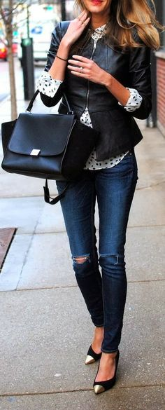 Narrow Bottom Jeans and Black Leather Jacket