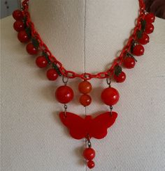 1930s Cherry Red BAKELITE Catalin Cherries & Butterfly Celluloid Chain Necklace