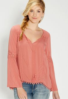 peasant top with lace and crocheted pompom hem (original price, $32) available at #Maurices