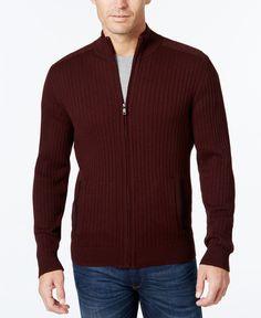 Alfani Men's Ribbed Full-Zip Sweater, Classic Fit