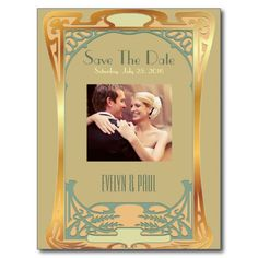 Personalize this eclectic Art Deco with its striking gold, green, and teal blue architectural design Save The Date card, inspired by the golden age of flappers and Prohibition. A creative choice for your Art Deco-themed engagement, wedding, anniversary, or any special event!  Check out matching products.