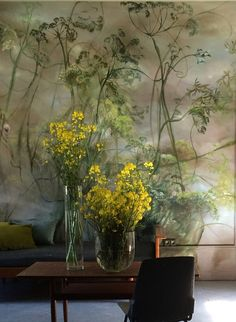 Ending the week with this amazing wallpainting from Claire Basler . Claire Basler, Arte Floral, French Artists, Wall Wallpaper, Oeuvre D'art, Painting Inspiration, Flower Art, Landscape Paintings, Wall Murals