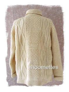 Cladyknit Irish Fishermans Wool Pullover WSweater L/S Turtleneck Beige Mens 46 L #Cladyknit #Turtleneck