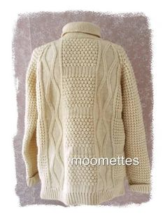 Cladyknit Irish Fishermans Wool Pullover WSweater L/S Turtleneck Beige Mens 46 L #Cladyknit #Turtleneck