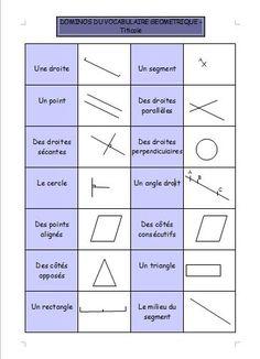 Géométrie : le domino du vocabulaire géométrique Math 5, Cycle 3, School Hacks, Home Schooling, Multiplication, Kids Education, Classroom Management, Kids Learning, Teacher