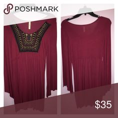 Flowing burgundy dress Short burgundy dress with square cut chest. Extremely flowy with cute Aztec pattern in front boutique Dresses Mini