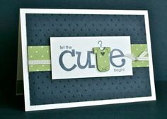 """Stamps: Big on Spring  Card: Whisper White, Night of Navy  Paper: Certainly Celery DSP  Ink: Night of Navy  Other: Perfect Polka Dots Embossing Folder, 1/8"""" White Taffeta Ribbon"""
