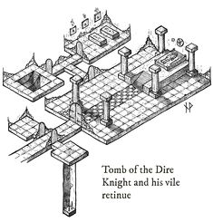 Tutorial: how to draw an isometric dungeon map – Niklas Wistedt – Medium Isometric Paper, Rpg Map, Ancient Tomb, Adventure Map, Dungeon Maps, Fantasy Map, Drawing For Beginners, Game Design, Design Concepts