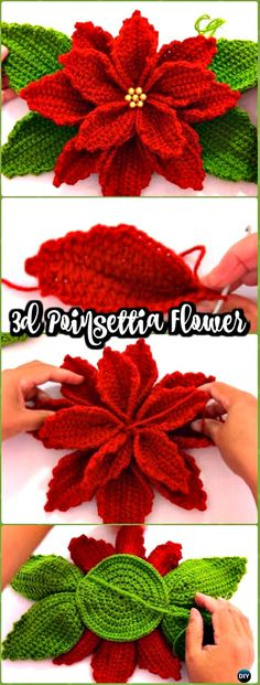 A Collection of Crochet Poinsettia Christmas Flower Free Patterns. Crochet flowers are always a further addition to wearables, bags, home decorations,
