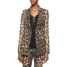 Altuzarra Leopard-Print Side Lace-Up Blazer ($1,447) ❤ liked on Polyvore featuring outerwear, jackets, blazers, leopard printed, one-button blazer, lace up jacket, leopard print blazers, leopard blazers and leopard jacket