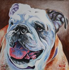 "michelle's bulldog 24x24"" oil on canvas by dragoslav milic-drago"