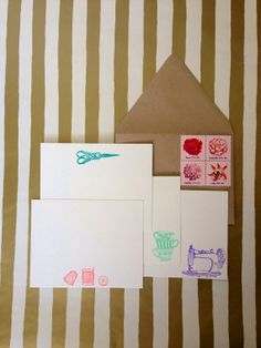 Crafter Stationery Set, hand stamped and embossed  by RHCollection, $14.00