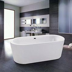 Maykke Xda1410002 Acrylic Harrow Freestanding Bathtub