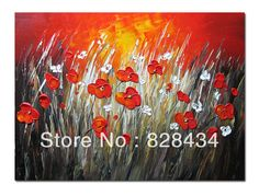 Free shipping and 100% hand-painted wall art, abstract painting red background and safflower home decoration $10.00