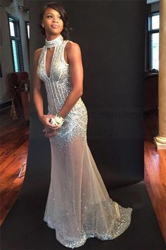 Prom Dresses,Sleeveless Sequins Open-Back Keyhole Halter Crystals Sheer-Tulle Mermaid Sexy Evening Dress