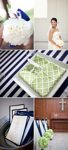 Awesome striped tablecloths - love the navy and green!