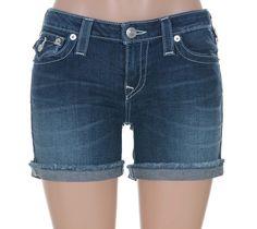 True Religion Women's Rhinestones Flap Pocket Mid Rise Cut Off Short Size 31 NWT #TrueReligion #Denim