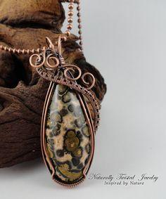 Leopard Skin Jasper in Antiqued Natural Copper Wire Wrapped Pendant
