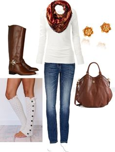 """Fall Outfit With Boot Socks!"" by honeybee20 ❤ liked on Polyvore"