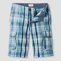 Boys' Cargo Shorts - Cat & Jack Blue Plaid 18