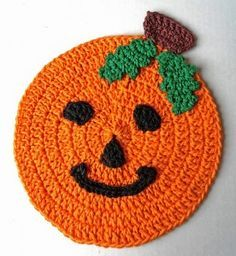 Pumpkin dishcloth ~free pattern I know Halloween is closing in fast but this is so cute :<)