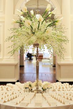 photo: Robyn Rachel Photography; Gorgeous wedding reception escort card table centerpiece idea;