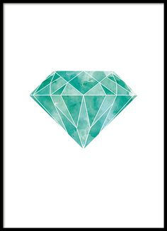 A graphic poster of a diamond / emerald in a beautiful green, turquoise colour. This poster works both as a splash of colour for interior design in neutral shades or with other nice colours. You can find more similar motifs in the Graphic category. www.desenio.co.uk