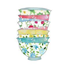 A Stack of Bowls Print ,Shabby chick Retro fun , kitchen wall decor,  limited edition, On Etsy