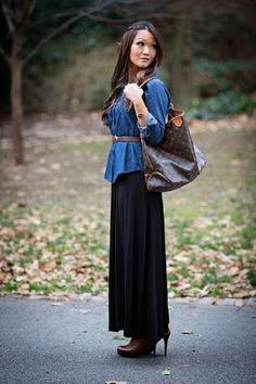 Maxi skirt, belted denim shirt and boots.