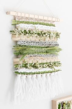 DIY Sommer -sommerlicher handgewebter Boho Wandteppich mit Trockenblumen und Gräsern