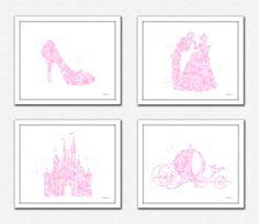 Pink Princess print Disney princess light pink by FluidDiamondArt