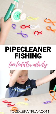Quick and easy toddler activity using toy fishing poles and pipecleaners for bright and colorful fish! Fish Activities, Indoor Activities For Toddlers, Toddler Learning Activities, Bible Activities, Games For Toddlers, Speech Therapy Activities, Infant Activities, Toddler Games, Toddler Class