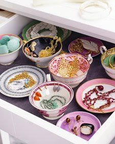 Drawers full of products, grouped into teacups and saucers