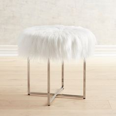 Patton Vanity Stool With White Faux Fur & Nickel Legs