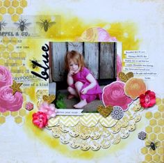 Scrapbook Layout by Lesley Langdon using a monthly kit from Up The Street Scrapbooking.
