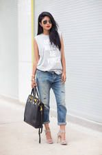 Citizens Of Humanity Blue Ripped Washed Denim Rolled Cuff Boyfriend Jeans